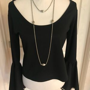 Ronny Kobo black crop blouse